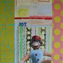 "Joy Monkey, 30"" x 30"", acrylic, mixed media on wood cradle"