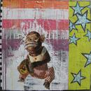 "Jolly Chimp, 36"" x 36"", acrylic, collage on wood cradle"