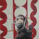 "Monkey 2, 16"" x 20"",  acrylic on wood cradle, by Mary Lottridge"