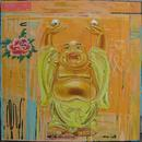 "Laughing Buddha, 36"" x 36"", acrylic, collage on wood cradle"
