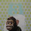 """Chimp #3, 30.5"""" x 40"""", acrylic on mylar"""