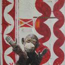 "Monkey 1, 16"" x 20"", acrylic on wood cradle, by Mary Lottridge"
