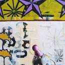 "Three Purple Star, 24"" x 36"", acrylic on wood cradle"