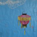 "Chinese Lantern, 34"" x 31"", acrylic and mixed media on paper by Mary Lottridge"