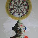 "Clown with Dartboard, 24"" x 36"", acrylic on mylar by Mary Lottridge"