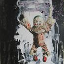 "Acrobat Clown 2, 18"" x 32"", acrylic on mylar by Mary Lottridge"