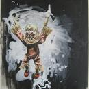 "Acrobat Clown 1, 19"" x 32"", acrylic on mylar by Mary Lottridge"