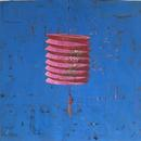 """Painted Lantern, 22.25"""" x 24"""", acrylic and mixed media on paper by Mary Lottridge"""