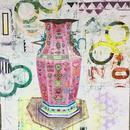 """Big Pink Pot, 36""""x36"""", acrylic on wood cradle"""