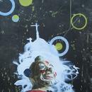 "Clown and the Night Sky, 18"" x 24"", acrylic on mylar"