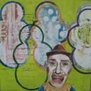 "Balloon Man, 24"" x 24"", acrylic on masonite cradle"
