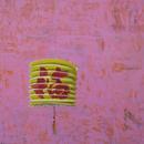 "Good Fortune Lantern 1, 20"" x 20"", acrylic on wood cradle"
