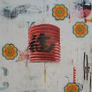 "Chinoiserie, 24"" x 24"", acrylic, collage on wood cradle"