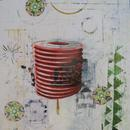 "Chinoiserie 2, 24"" x 24"", acrylic, collage on wood cradle"