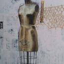 "Dressmaker Form 1, 40"" x 60"", acrylic on wood cradles"